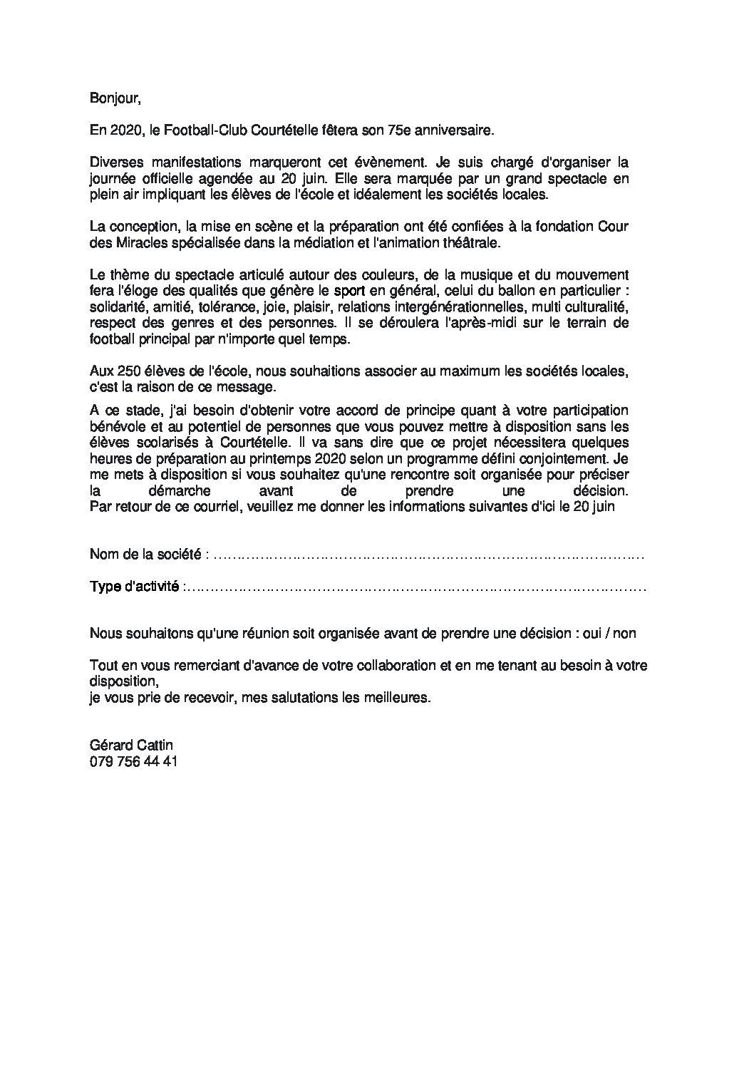 Message pour les sociétés locales concernant le 75 ème du FCC