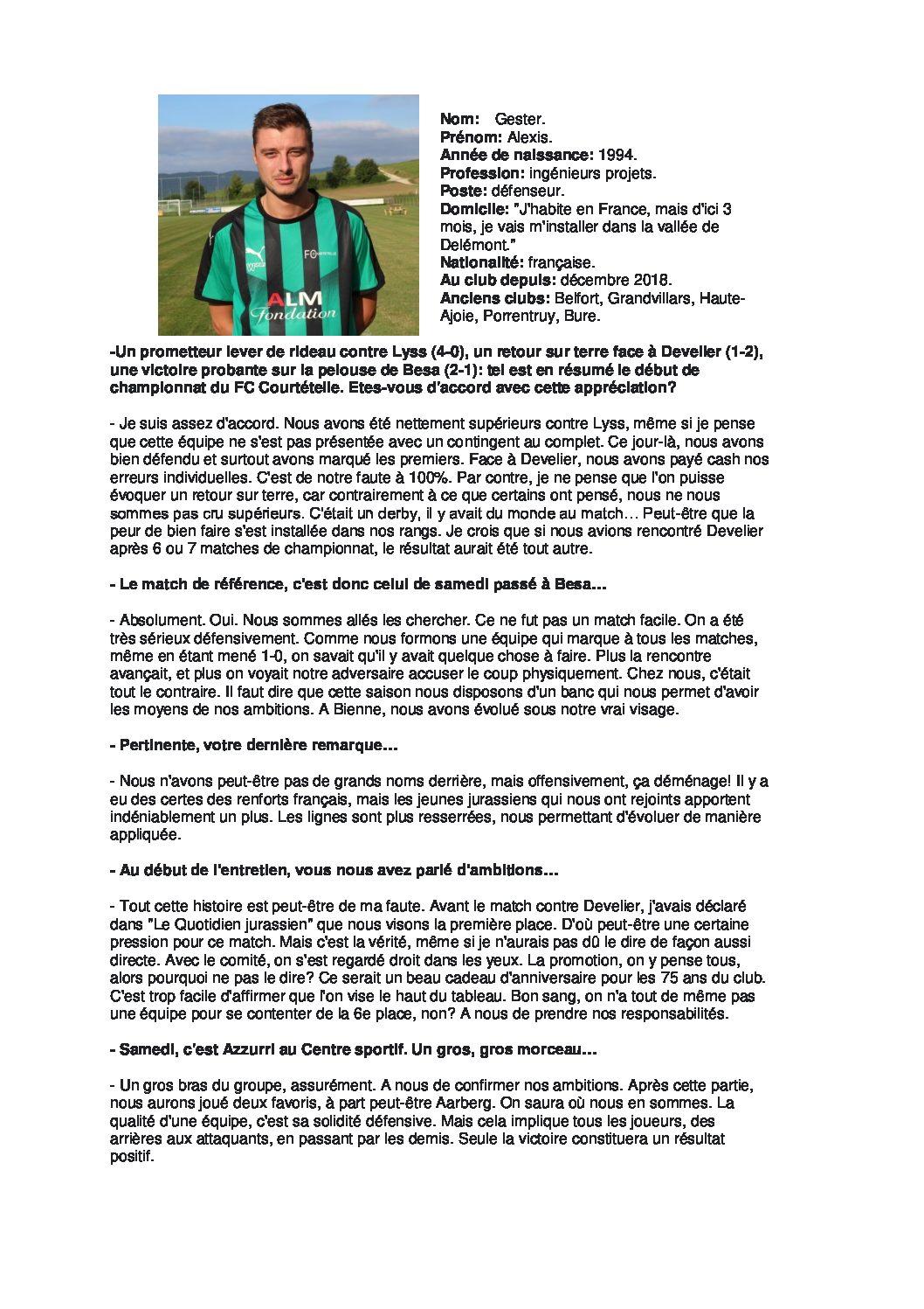 Avant match Azzurri Bienne du 7 septembre 2019 Interview Alexis Gester