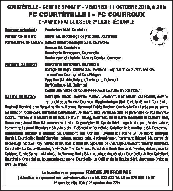 FCC – FC Courroux du 11 octobre